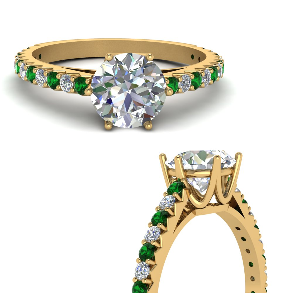 petite crown diamond engagement ring with emerald in FDENR9176RORGEMGRANGLE3 NL YG