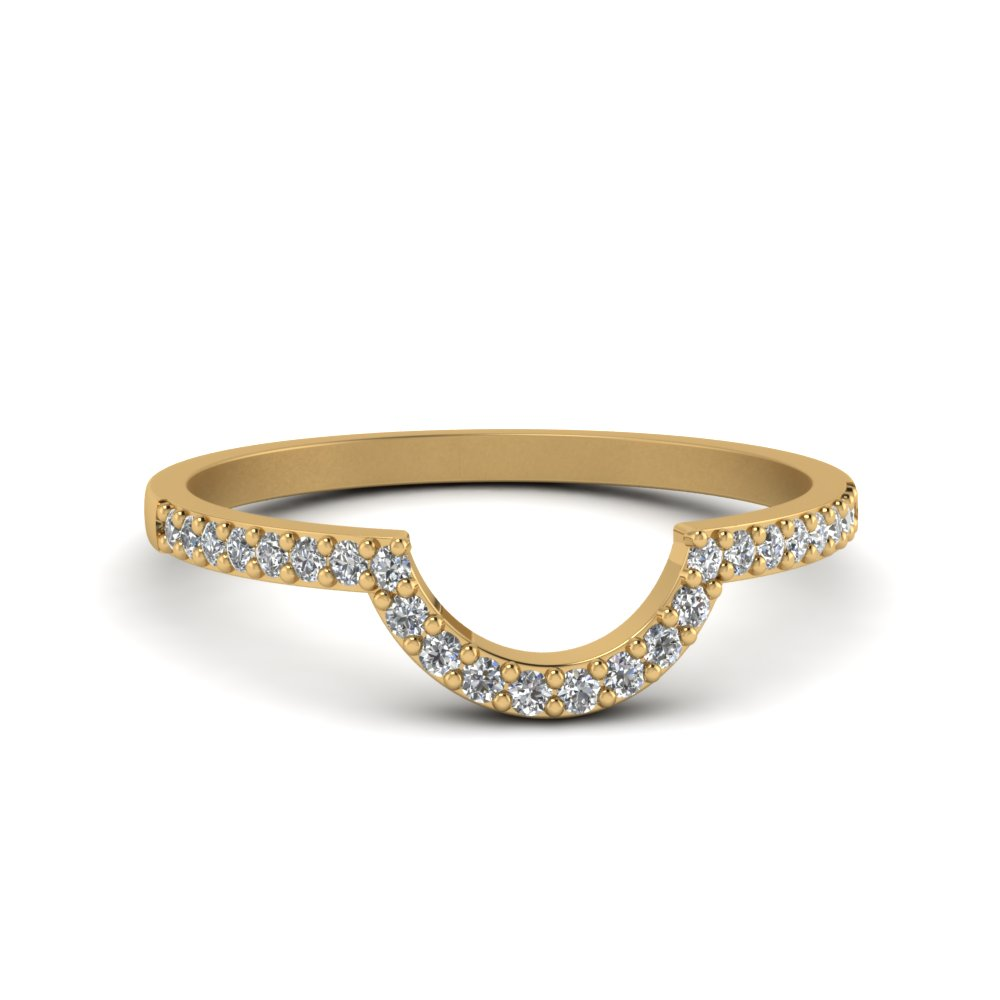 Curved Wedding Bands: Petite Curved Diamond Wedding Band In 14K Yellow Gold
