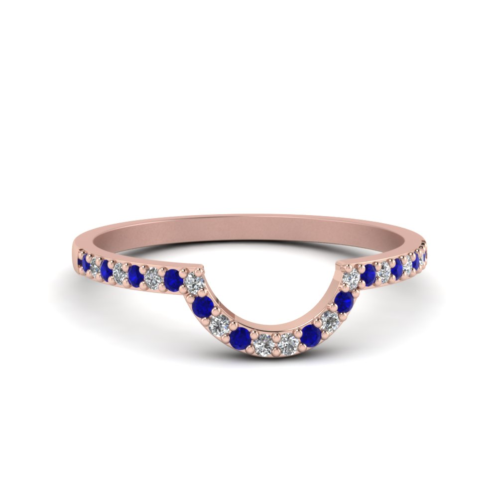 Petite Curved Diamond Wedding Band With Blue Sapphire In 14K Rose Gold
