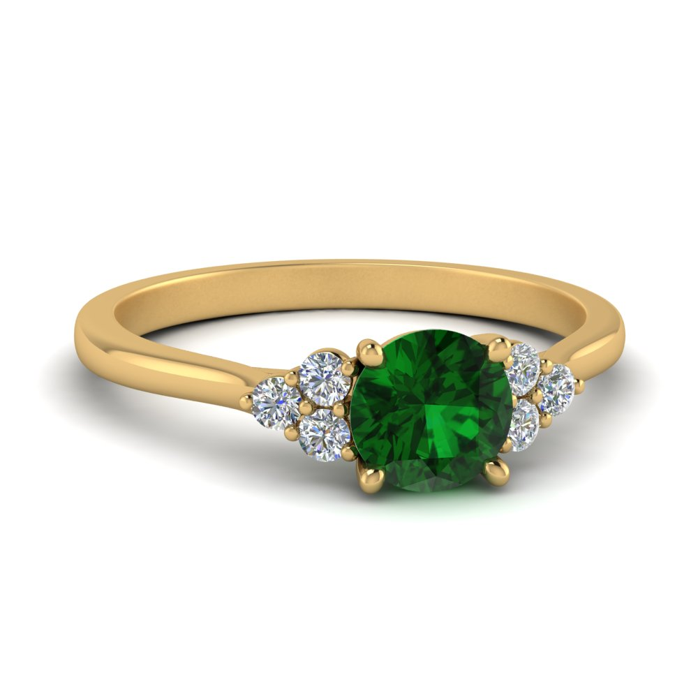 Petite Emerald Engagement Ring In 14k Yellow Gold Fascinating Diamonds