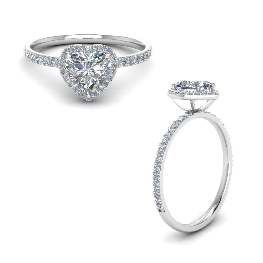 Petite Heart Diamond Halo Ring