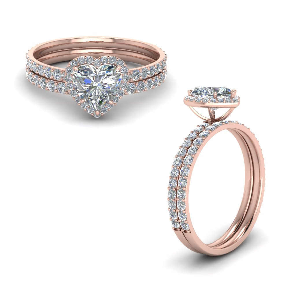 Petite Halo Diamond Ring Set