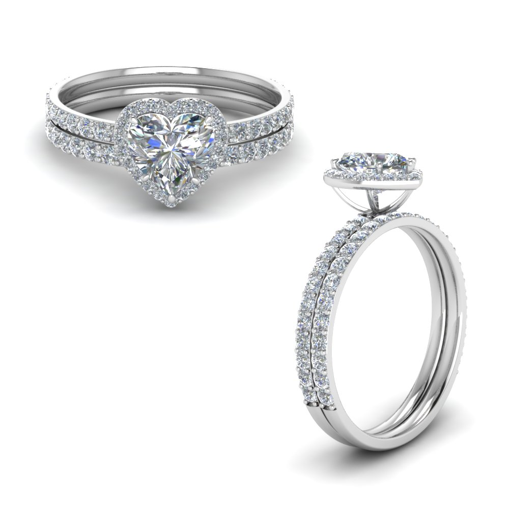 petite heart halo diamond wedding ring set in FD8520HTANGLE1 NL WG