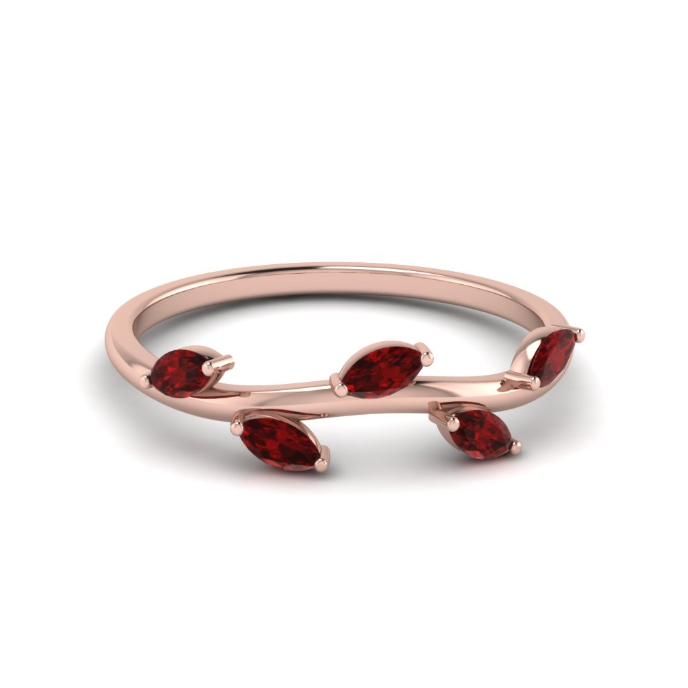 Petite Leaf Design Ruby Band