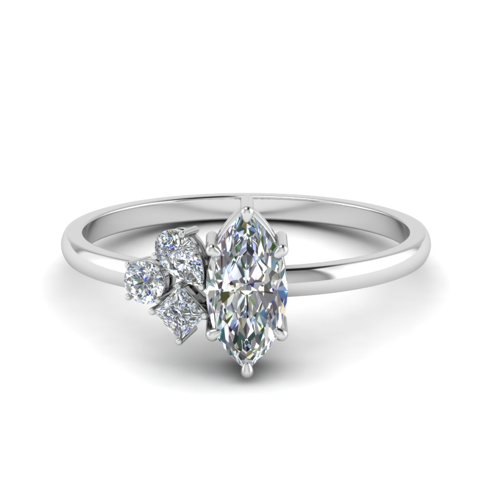 petite non traditional diamond wedding ring in FD9029MQ NL WG