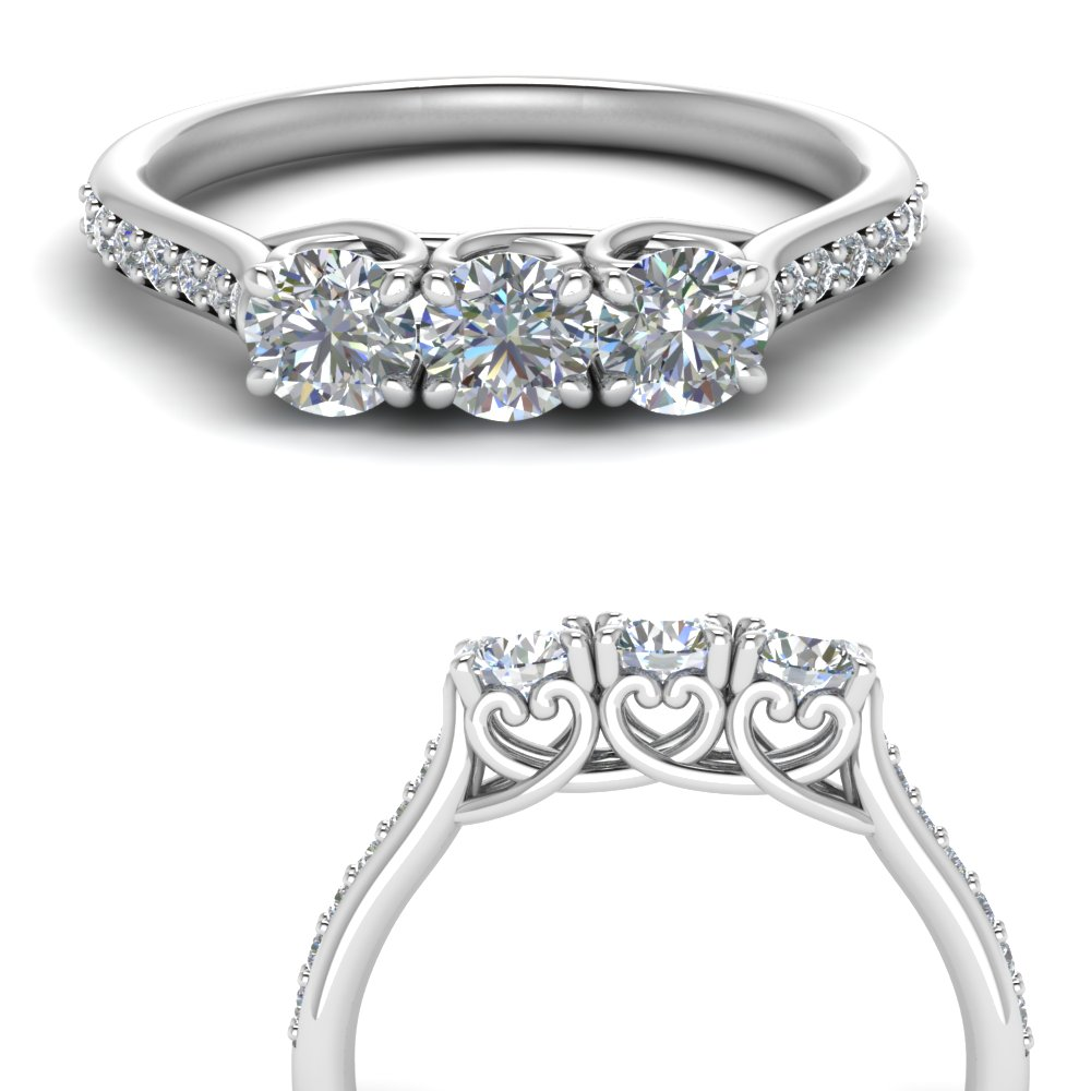 Petite Pave 3 Stone Wedding Band
