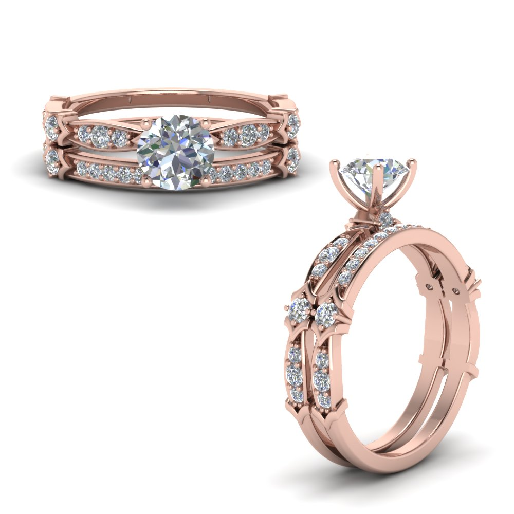 petite pave diamond bridal set in FD122112ROANGLE1 NL RG