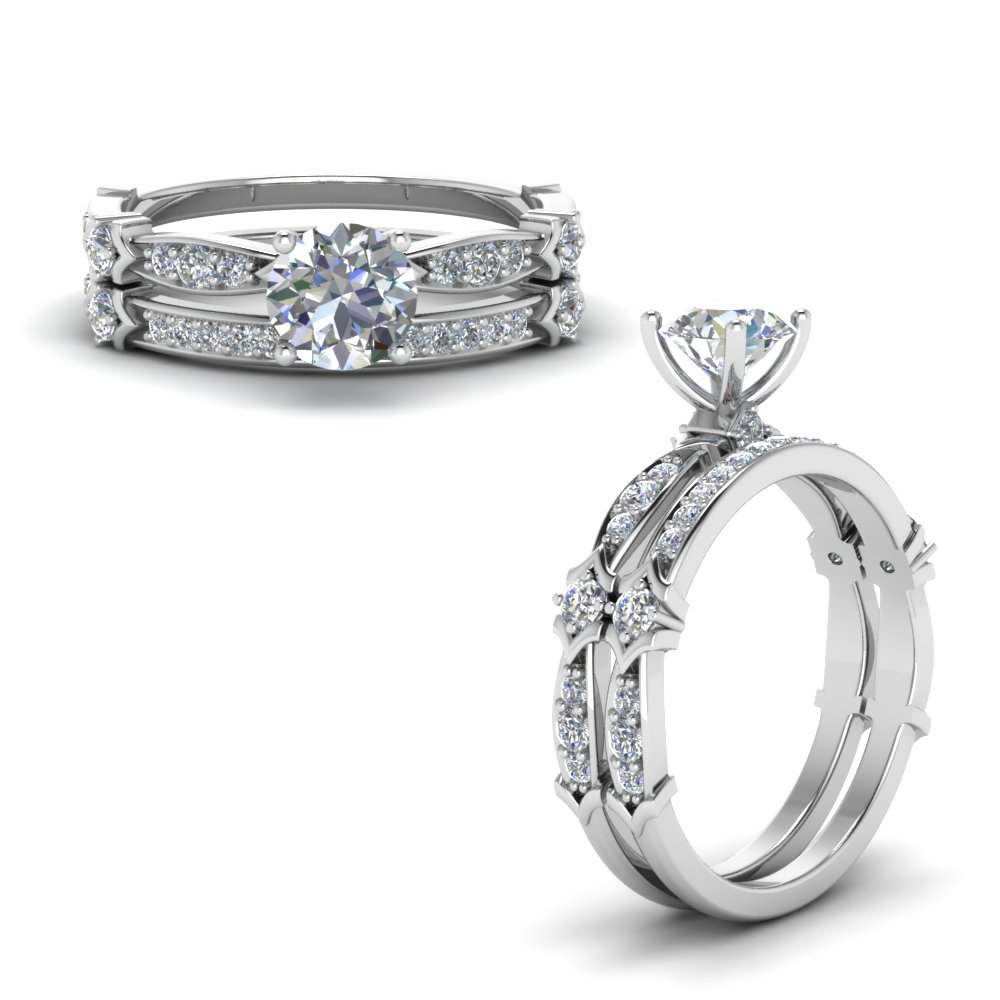Petite Pave Diamond Bridal Sets