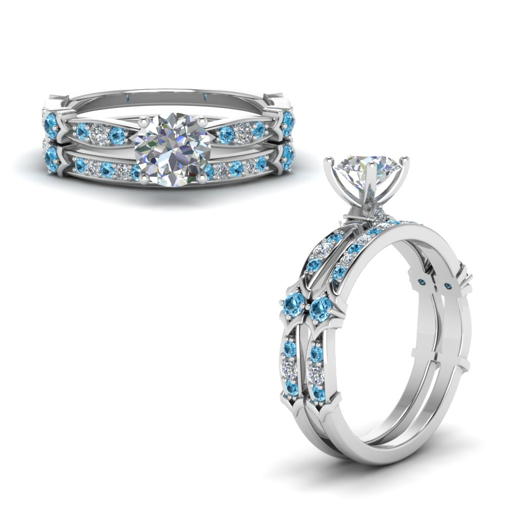 Platinum Blue Topaz Wedding Set