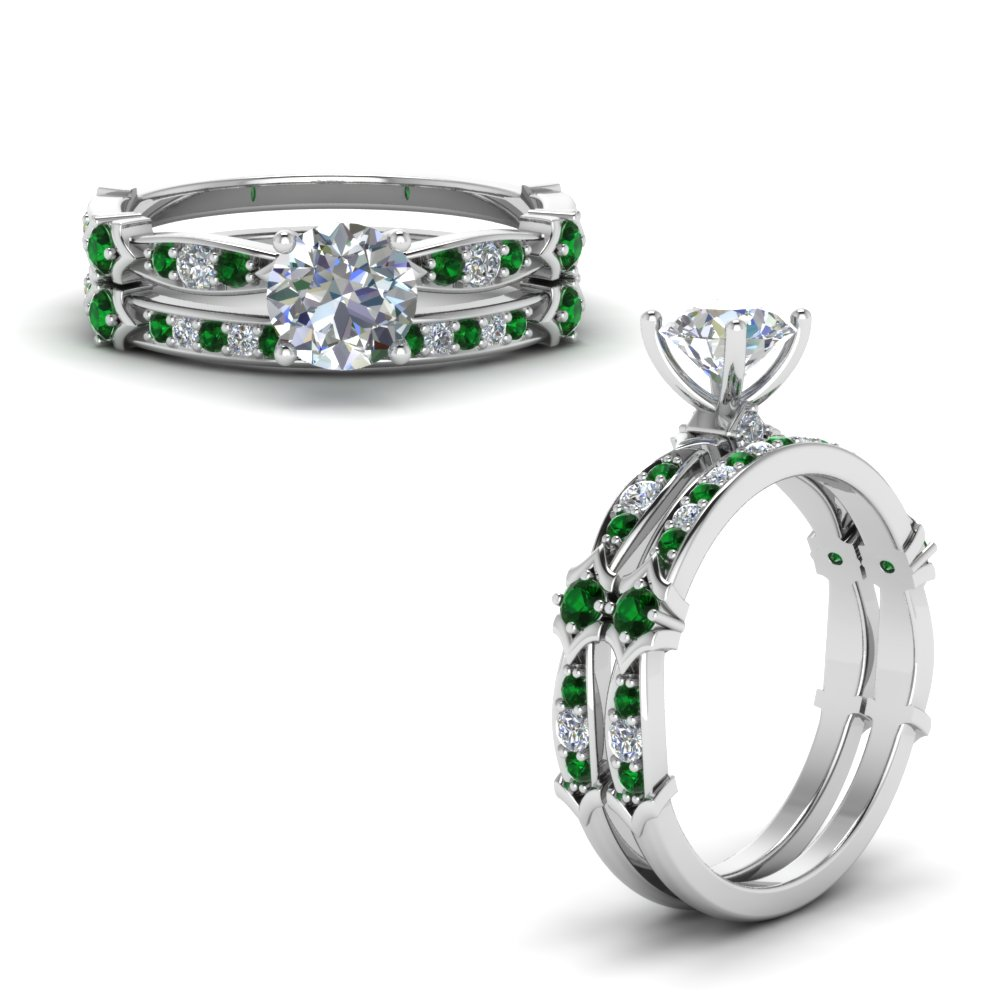 Petite Pave Emerald Ring Set