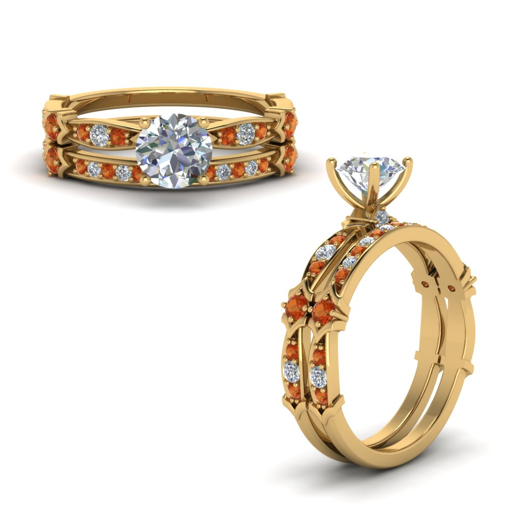 Pave Orange Sapphire Wedding Set