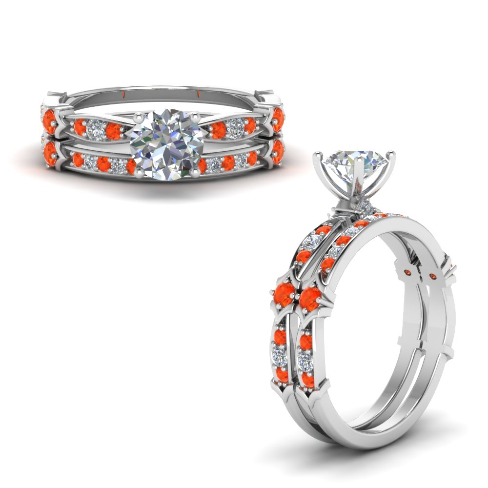 Petite Orange Topaz Wedding Set