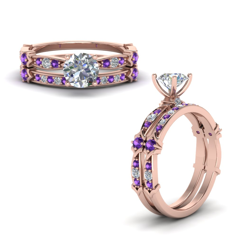 Purple Topaz Petite Pave Bridal Set