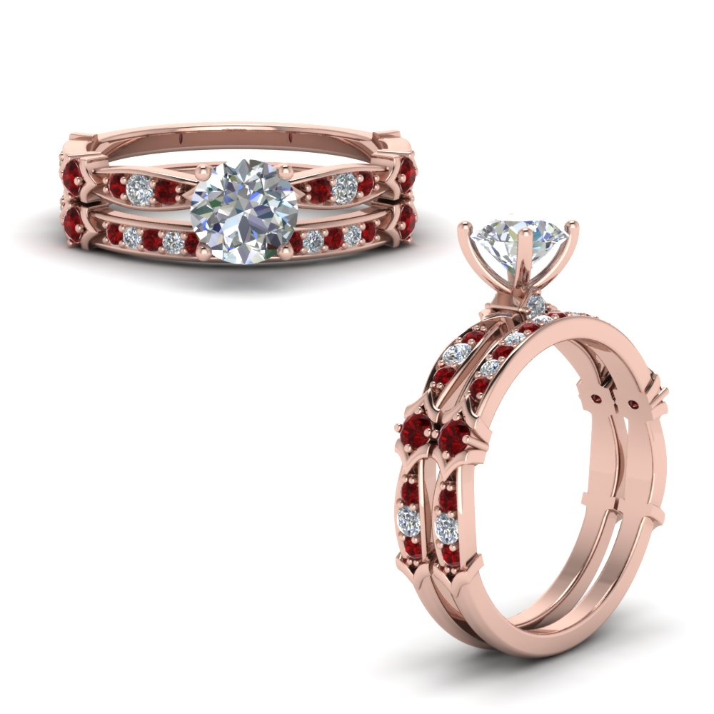 Accent Ruby Round Bridal Set