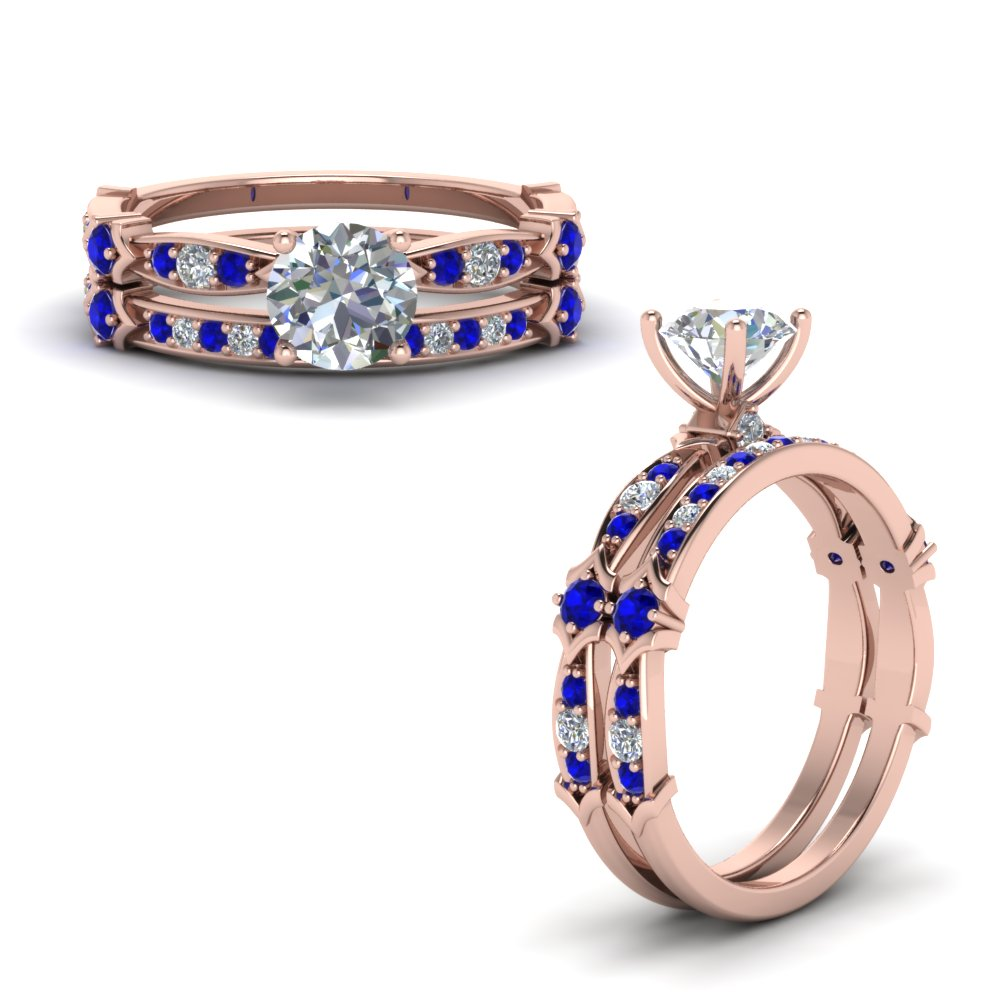 Sapphire Pave Bridal Ring Set