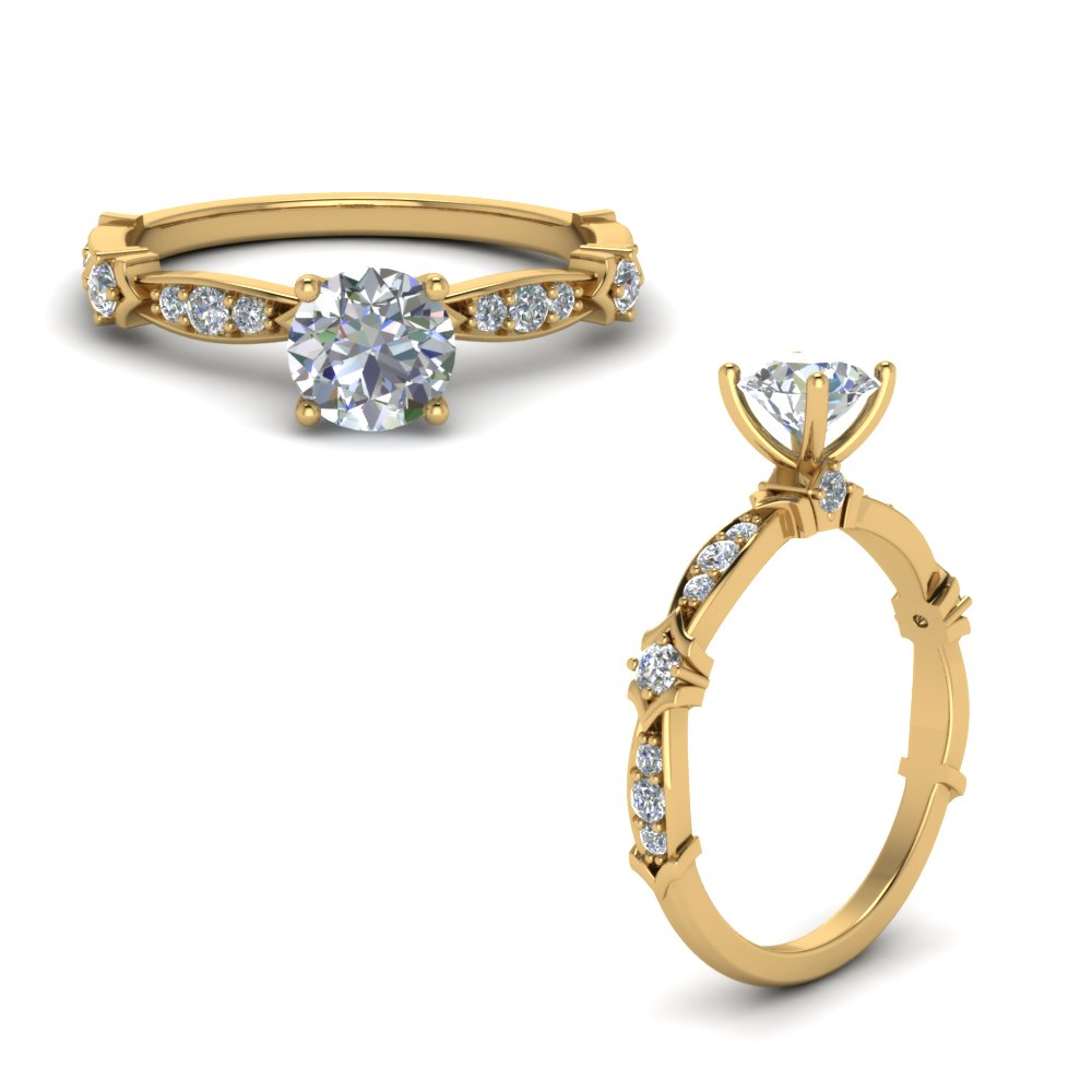 petite pave diamond engagement ring in FD122112RORANGLE1 NL YG