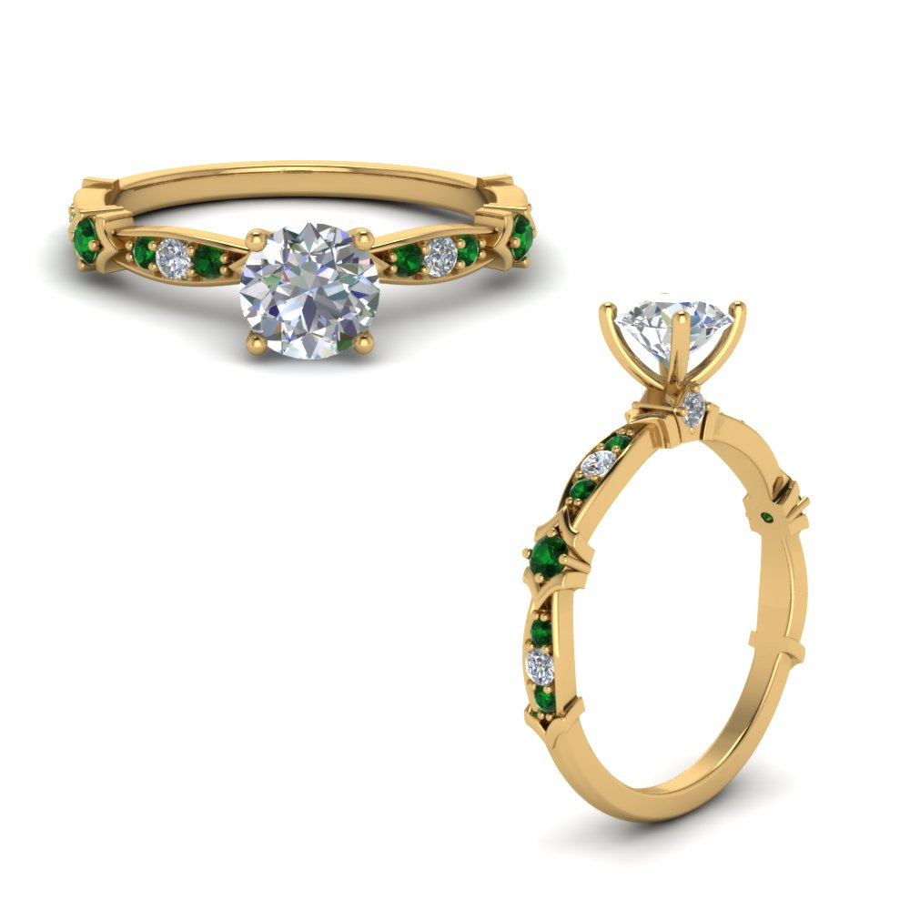 petite pave diamond engagement ring with emerald in FD122112RORGEMGRANGLE1 NL YG