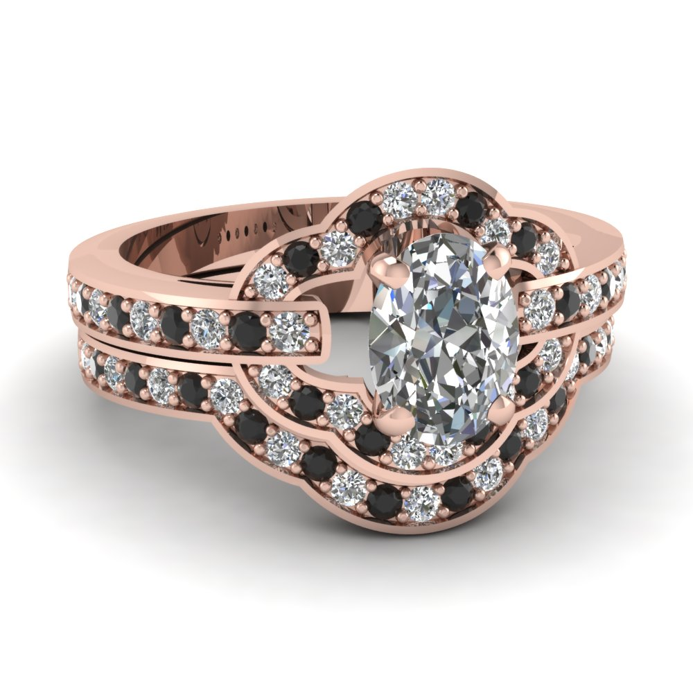 Petite Pave Oval Wedding Ring Set With Black Diamond In 14K Rose ...