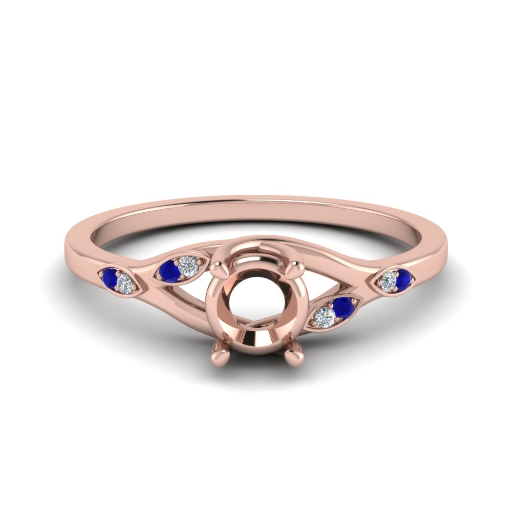 Nature Inspired  Diamond Semi Mount Engagement Ring With Sapphire In 14K Rose Gold