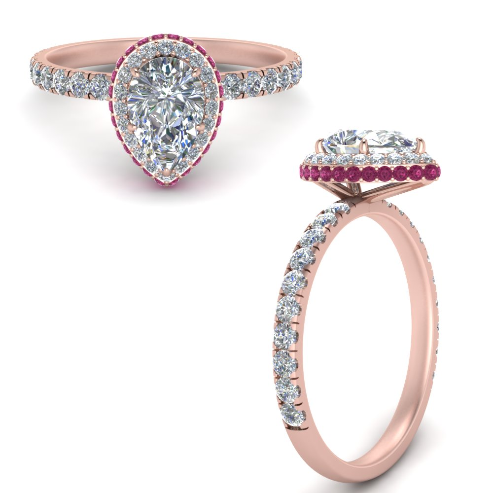 petite pear shaped under halo moissanite engagement ring with pink sapphire in FD9137PERGSADRPIANGLE3 NL RG.jpg