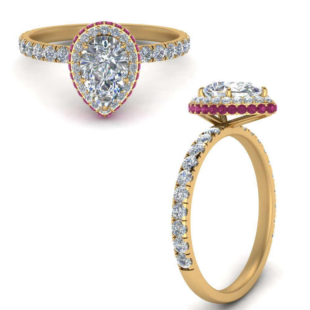 petite pear shaped under halo diamond engagement ring with pink sapphire in FD9137PERGSADRPIANGLE3 NL YG.jpg