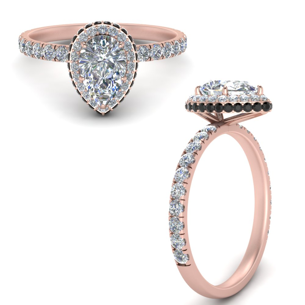 petite pear shaped under halo engagement ring with black diamond in FD9137PERGBLACKANGLE3 NL RG.jpg