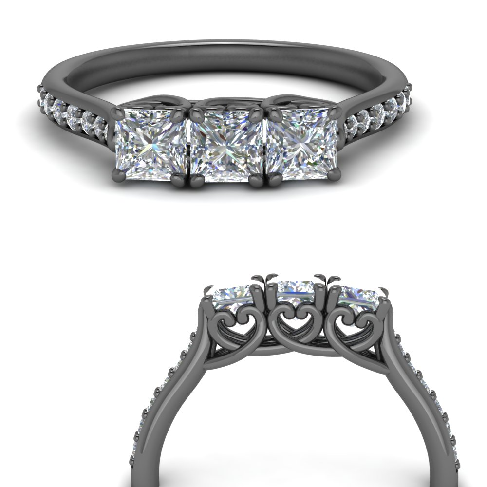 Heart Design Princess Diamond Band