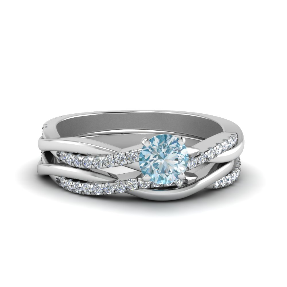 Aquamarine Twisted Wedding Set