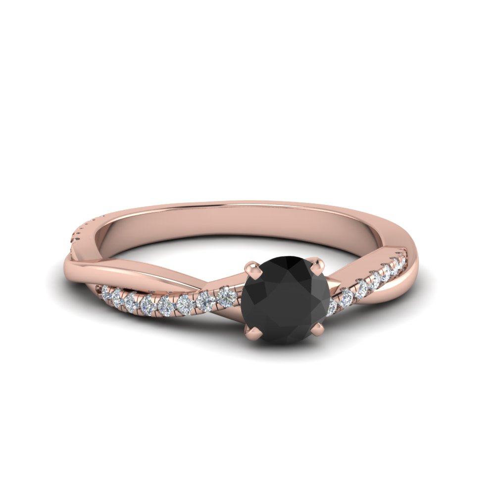 Petite Twisted Black Diamond Engagement Ring