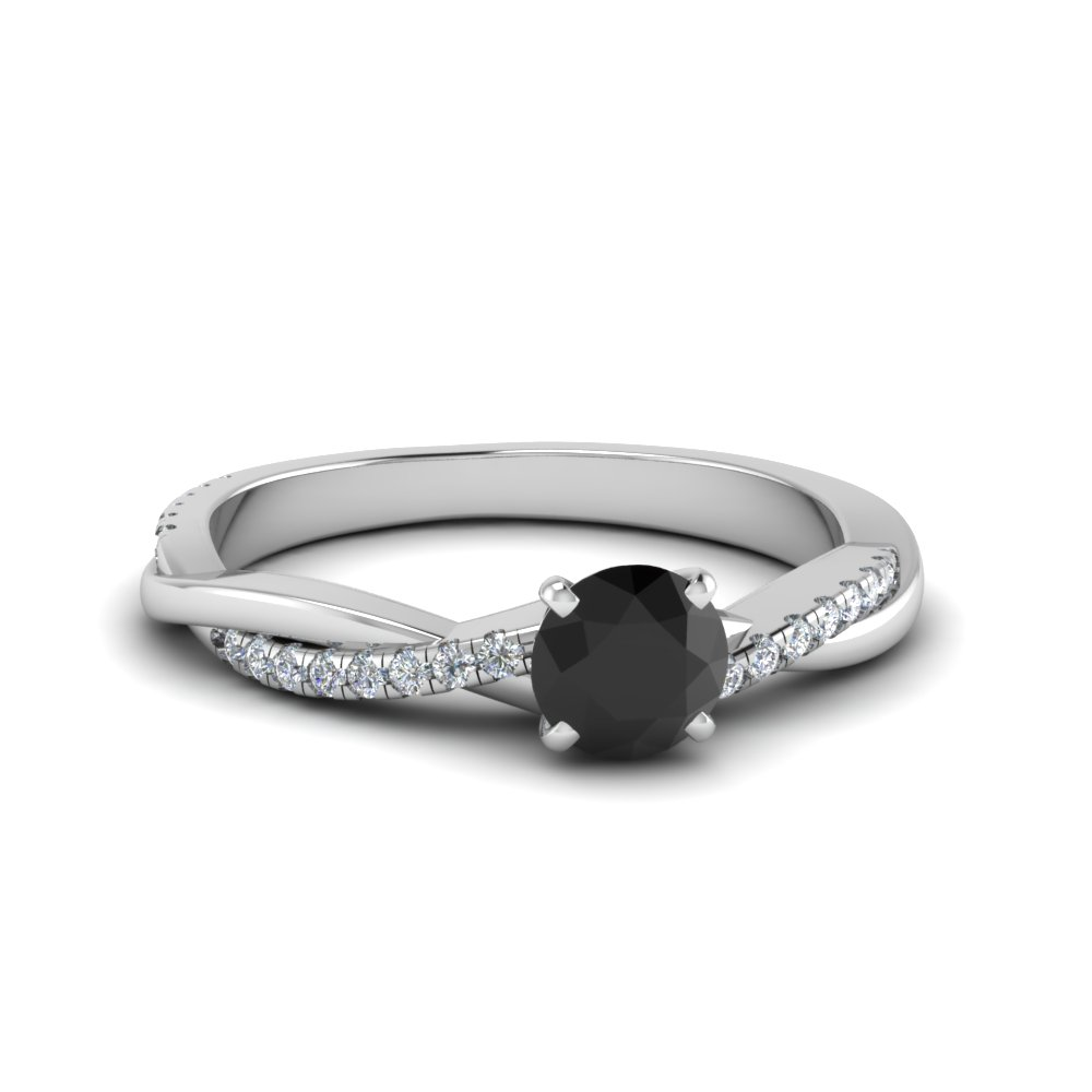 petite twisted black diamond engagement ring in FD8253RORGBK NL WG