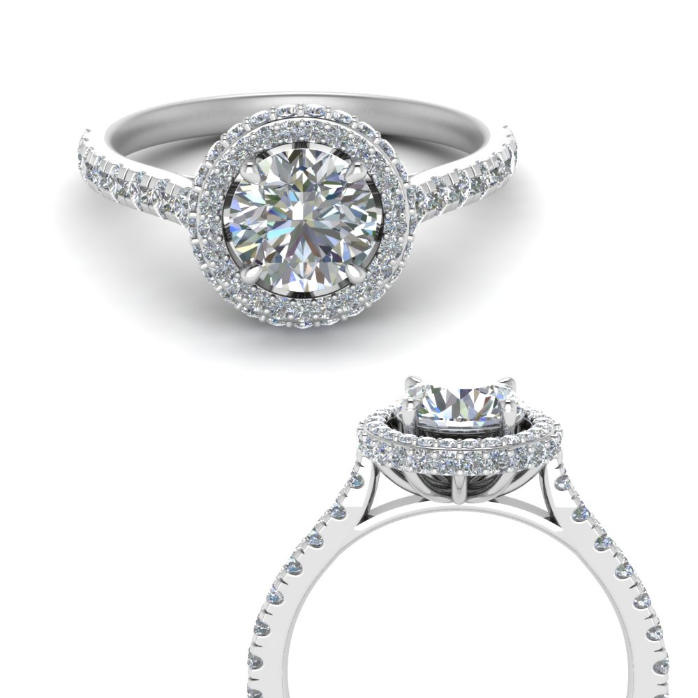 petite under halo lab diamond engagement ring in FD9114ROANGLE3 NL WG