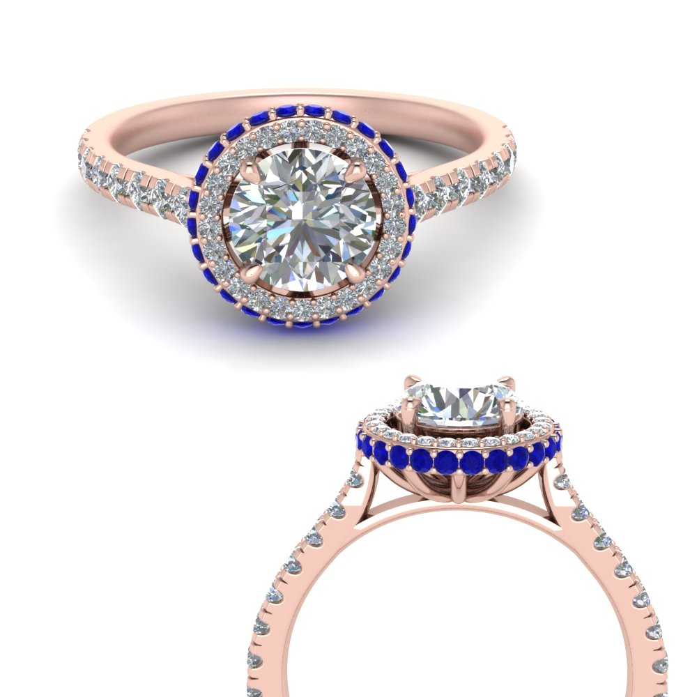 petite under halo diamond engagement ring with sapphire in FD9114ROGSABLANGLE3 NL RG