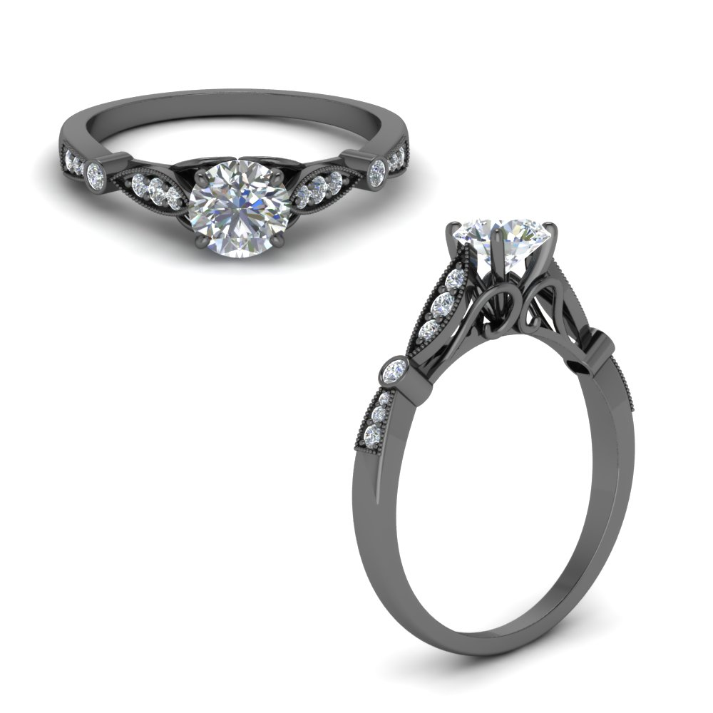 Black Gold Diamond Rings For Her