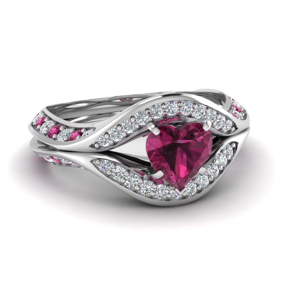 Heart Pink Sapphire Antique Pave Engagement Ring in White Gold
