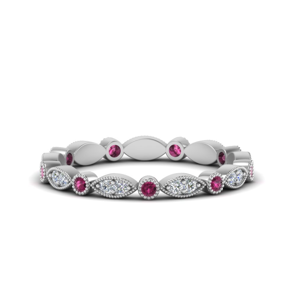 0.35 ct. pink sapphire  art deco diamond eternity band in FD8641BGSADRPI NL WG