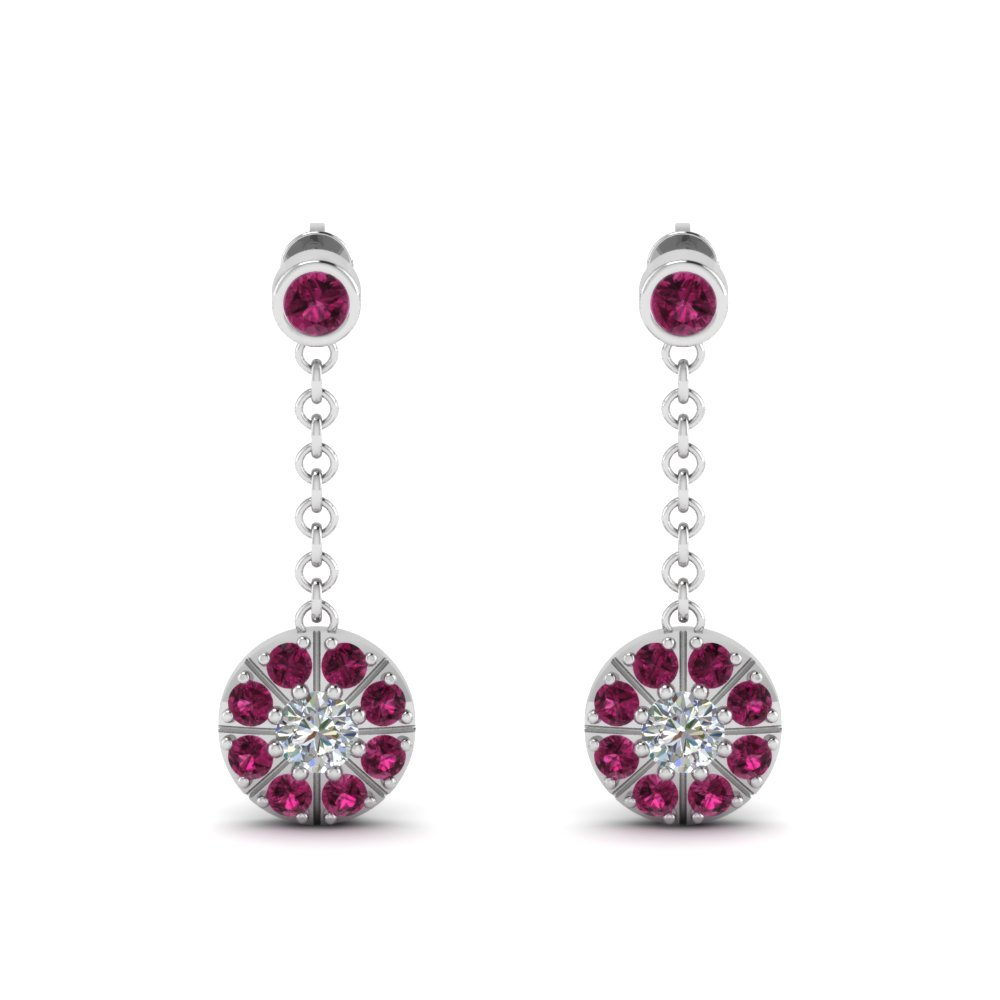 pink sapphire halo drop dangle diamond earring in FDEAR67096GSADRPIANGLE1 NL WG