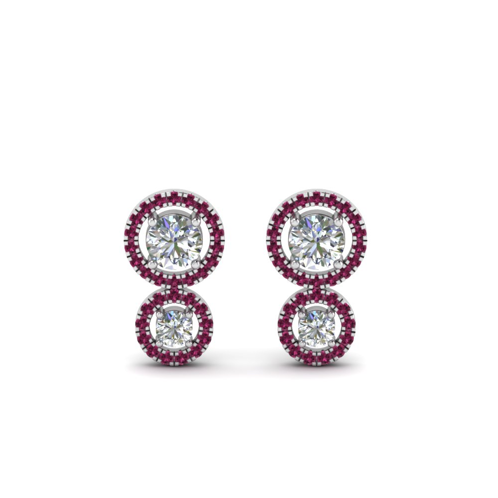 pink sapphire dual halo diamond stud earring in FDEAR8974GSADRPIANGLE1 NL WG
