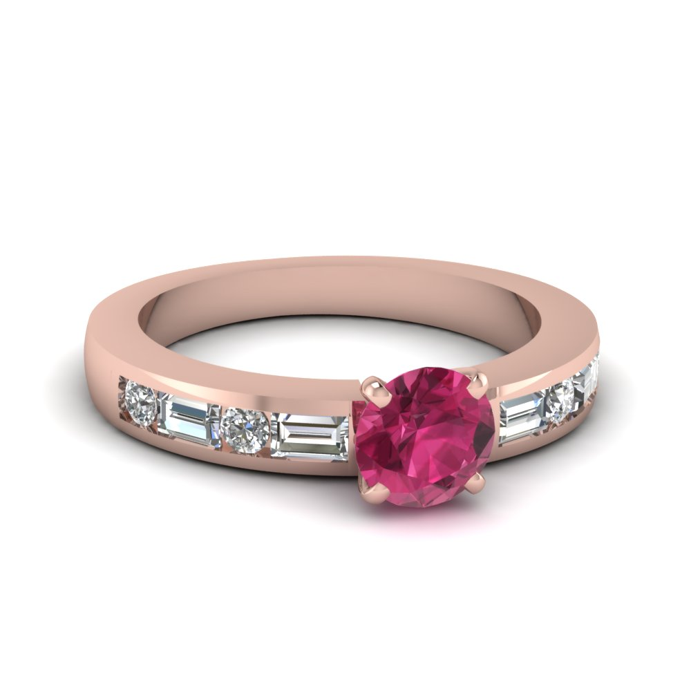 pink sapphire engagement ring with round and baguette diamond in 14K rose gold FDENS567RORGPS NL RG