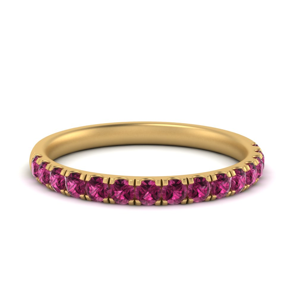 pink sapphire half eternity band in 14K yellow gold FD9330(0.50CT)GSADRPI NL YG GS