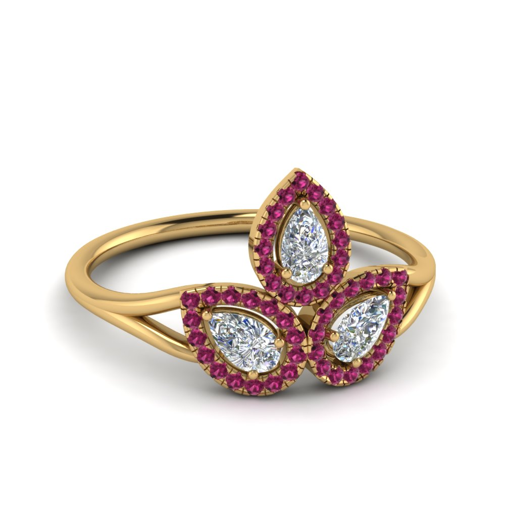 Pink Sapphire Halo 3 Pear Diamond Contemporary Ring