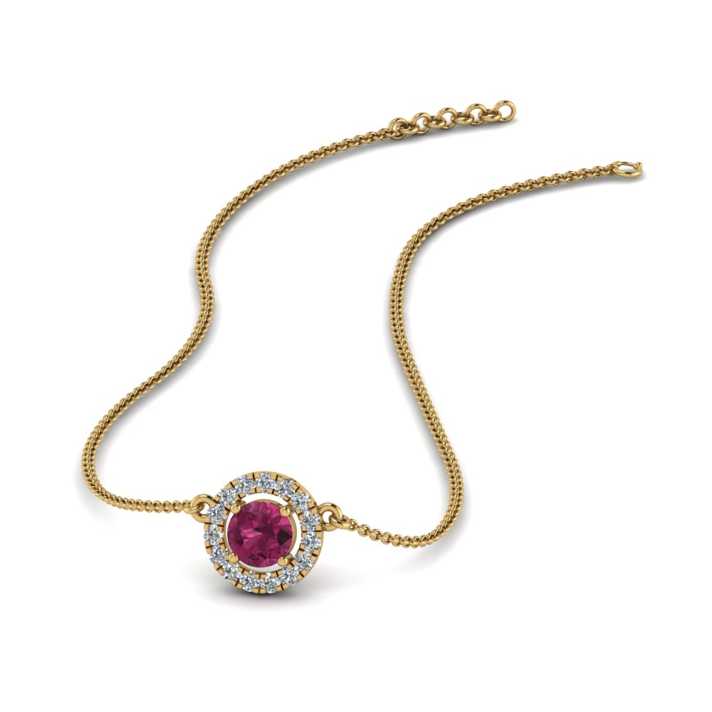 0.30 ct. diamond halo pink sapphire pendant necklace in FDPD8997GSADRPI NL YG