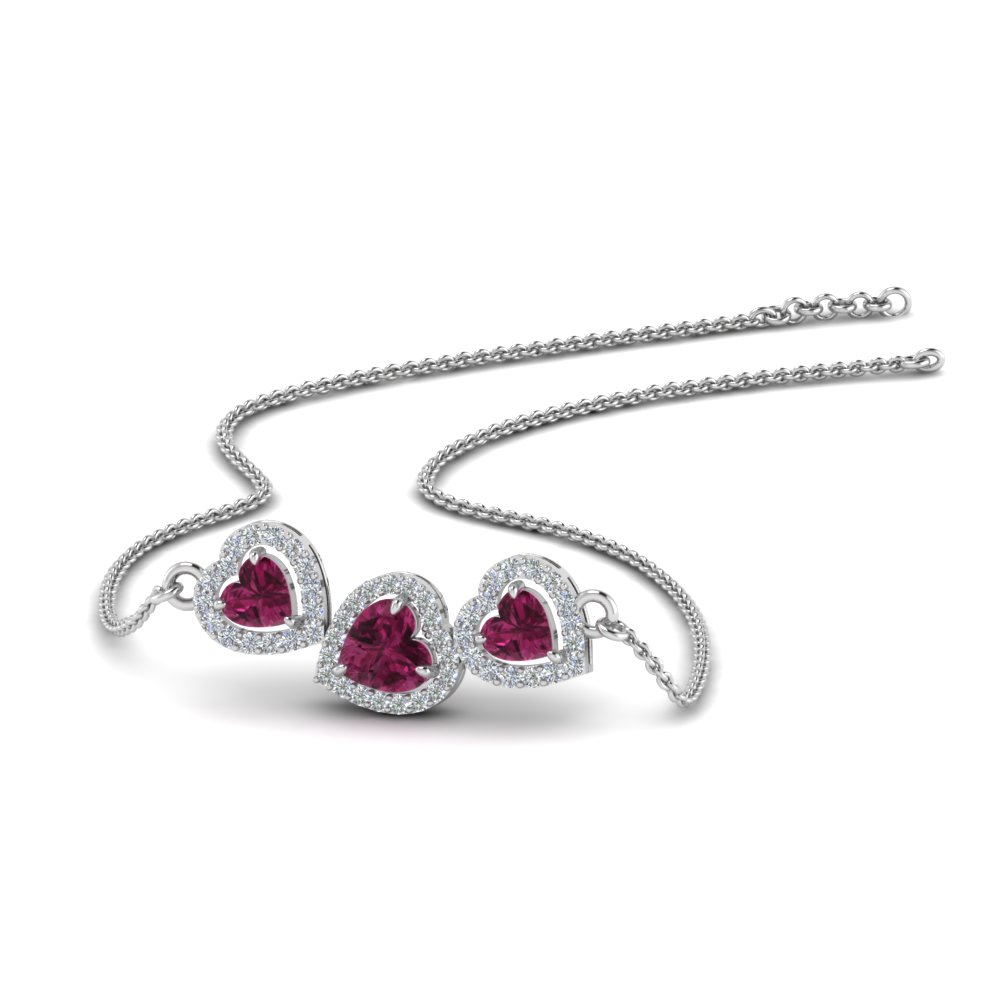 pink sapphire heart 3 stone pendant necklace in 14K white gold FDPD8881GSADRPI NL WG