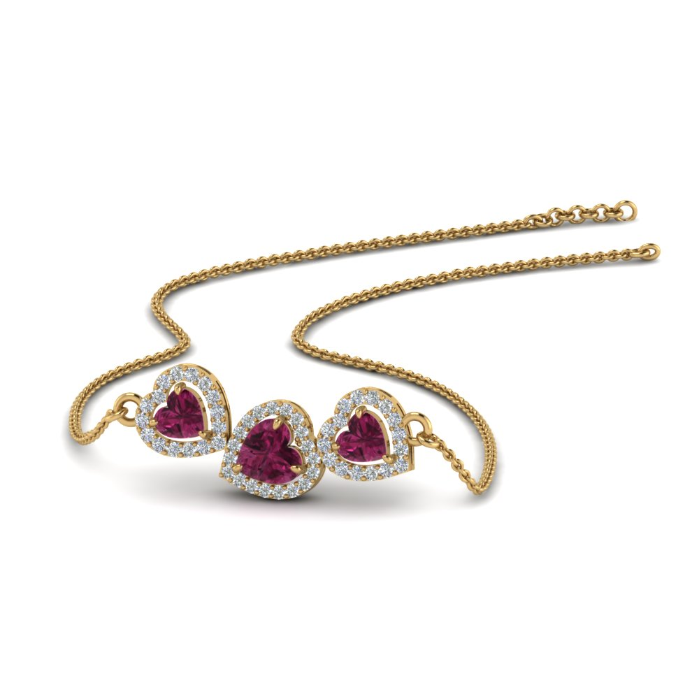 Pink Sapphire Heart 3 Stone Necklace