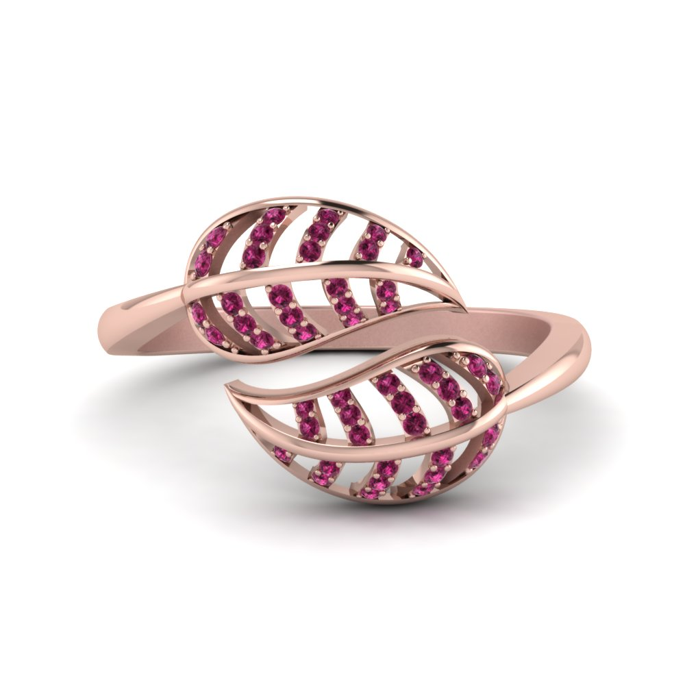 pink sapphire leaf bypass ring in 14K rose gold FD8621GSADRPI NL RG