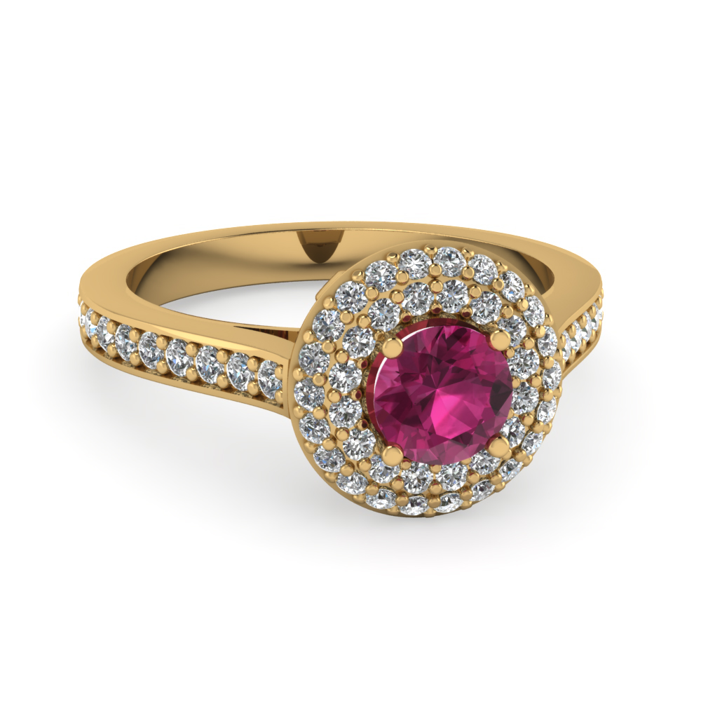 Pink Sapphire Pave Double Halo Diamond Ring in Yellow Gold