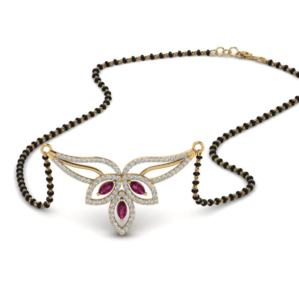 Pink Sapphire Floral Mangalsutra Pendant