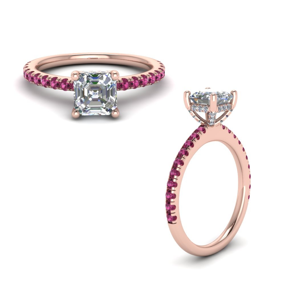 pink sapphire prong asscher cut moissanite petite engagement ring in FD8523ASRGSADRPIANGLE1 NL RG GS