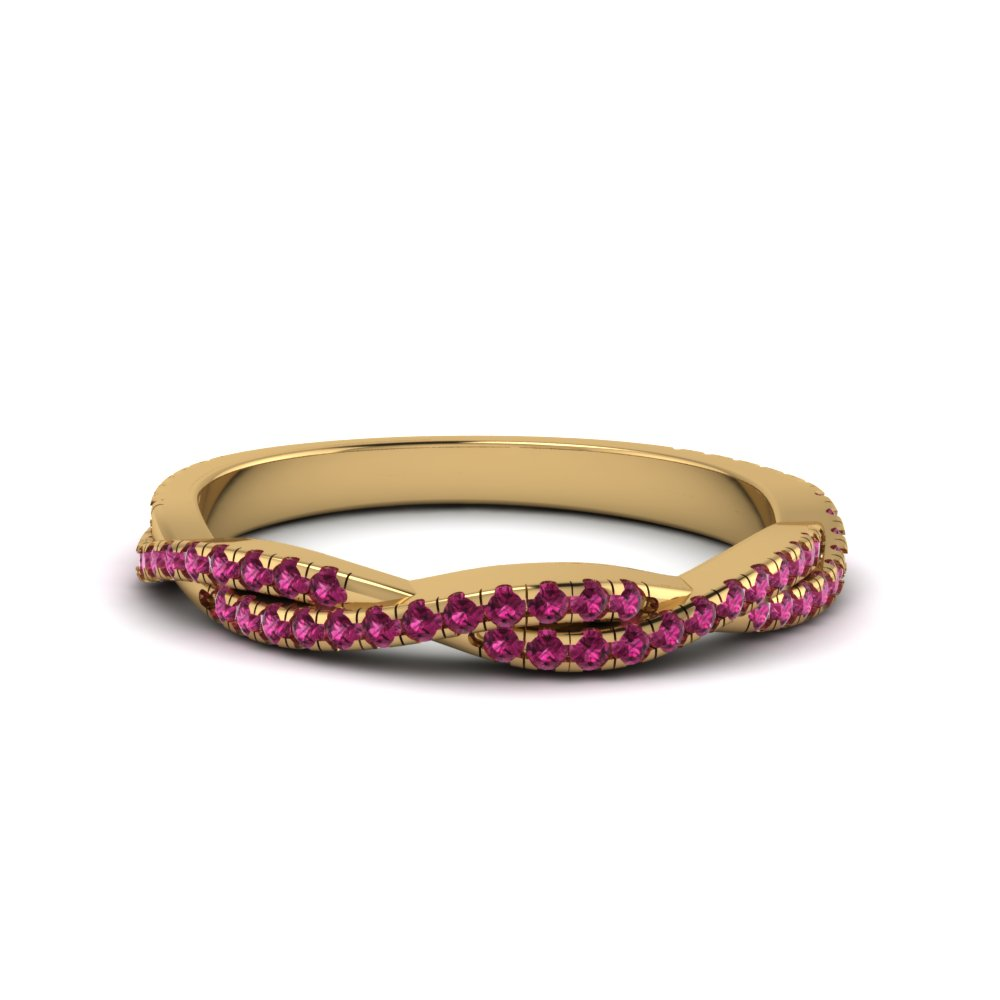 Pink Sapphire Twisted Wedding Band Gift For Her In 14K Yellow Gold