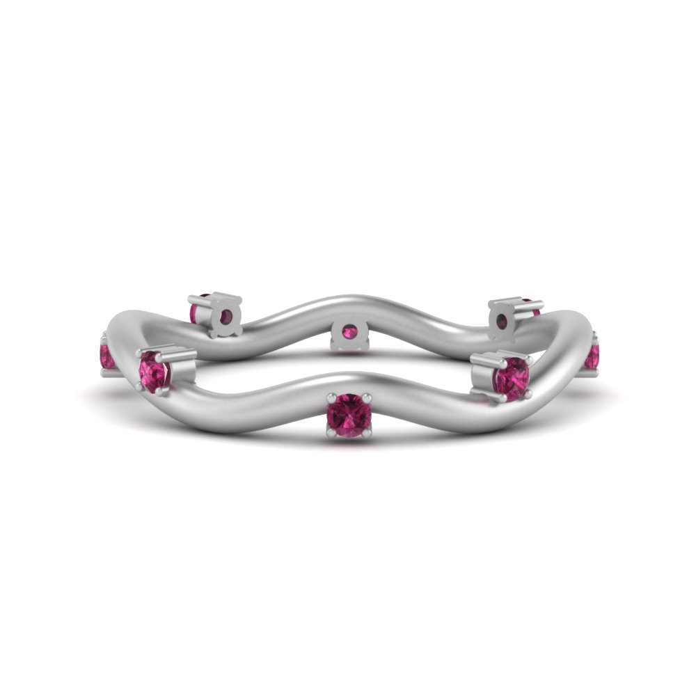 Wave Pink Sapphire Wedding Band