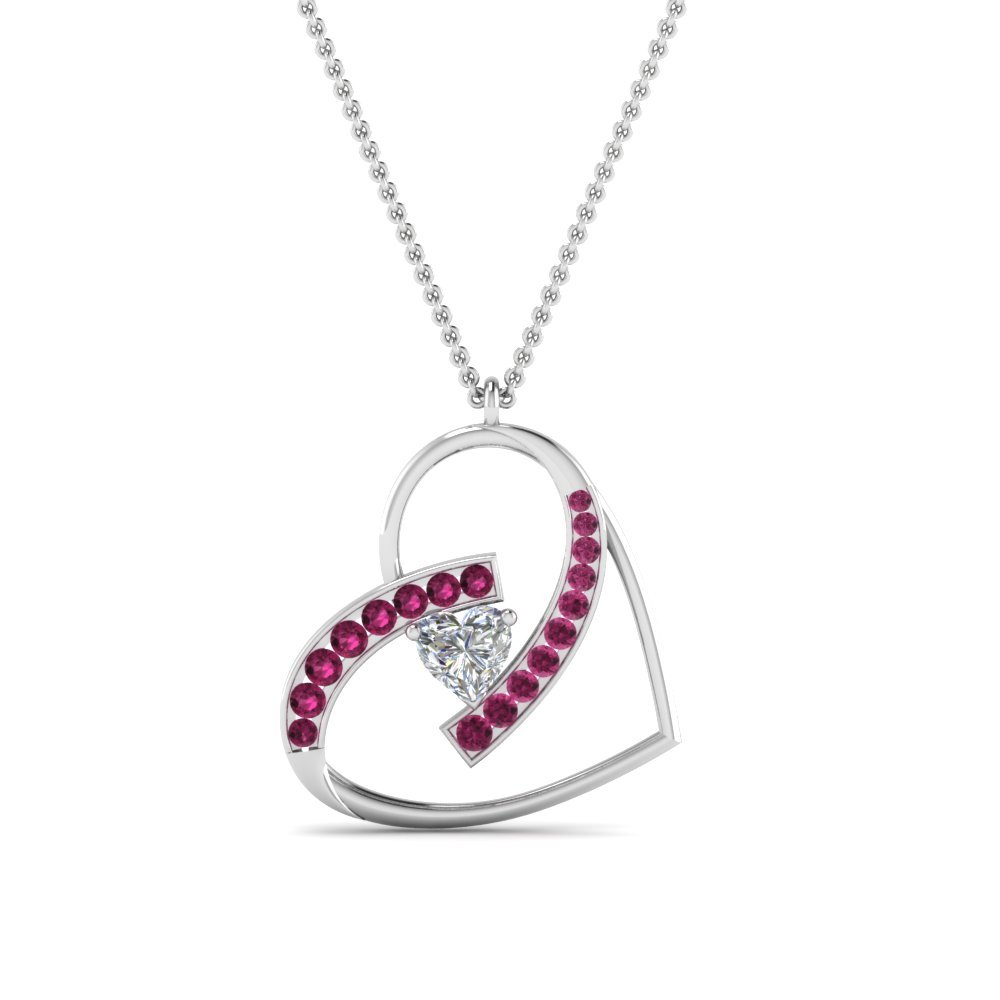 Heart Diamond Pendant With Pink Sapphire